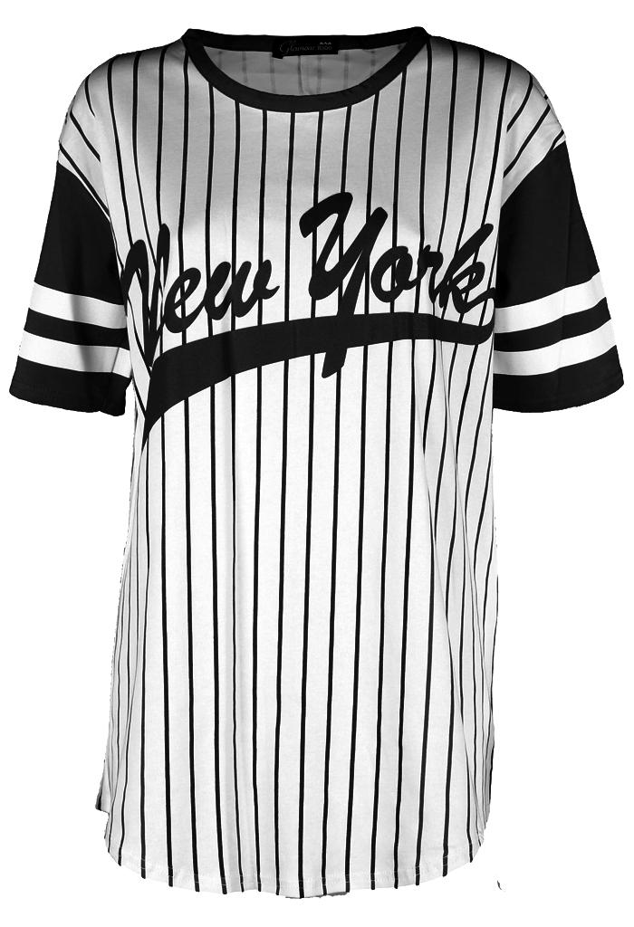 Womens-Ladies-Celeb-Jersey-Hockey-Oversized-Long-NY-Baseball-Newyork-Tee-Top