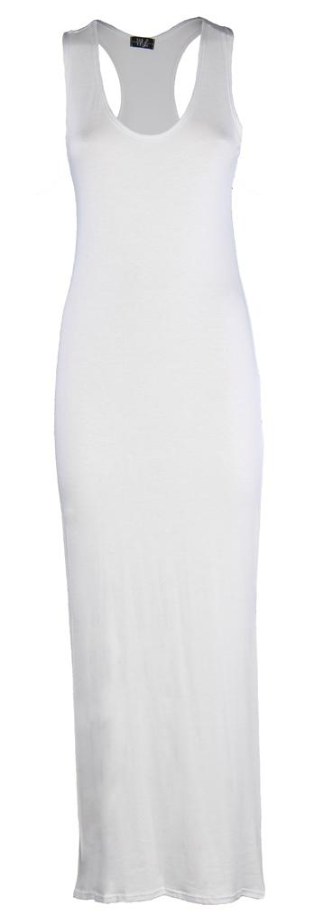 Womens-Ladies-Muscle-Racerback-Long-Skirt-Grecian-RACER-BACK-Maxi-Dress-UK