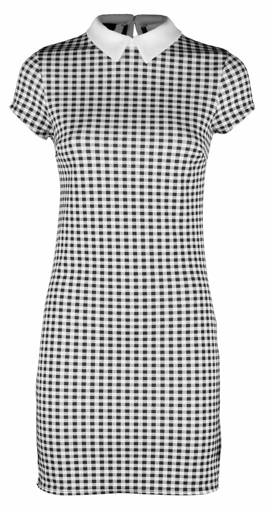 Womens-Ladies-Party-Tartan-White-Collar-Tunic-Chequered-Check-Black-Dress-LBD