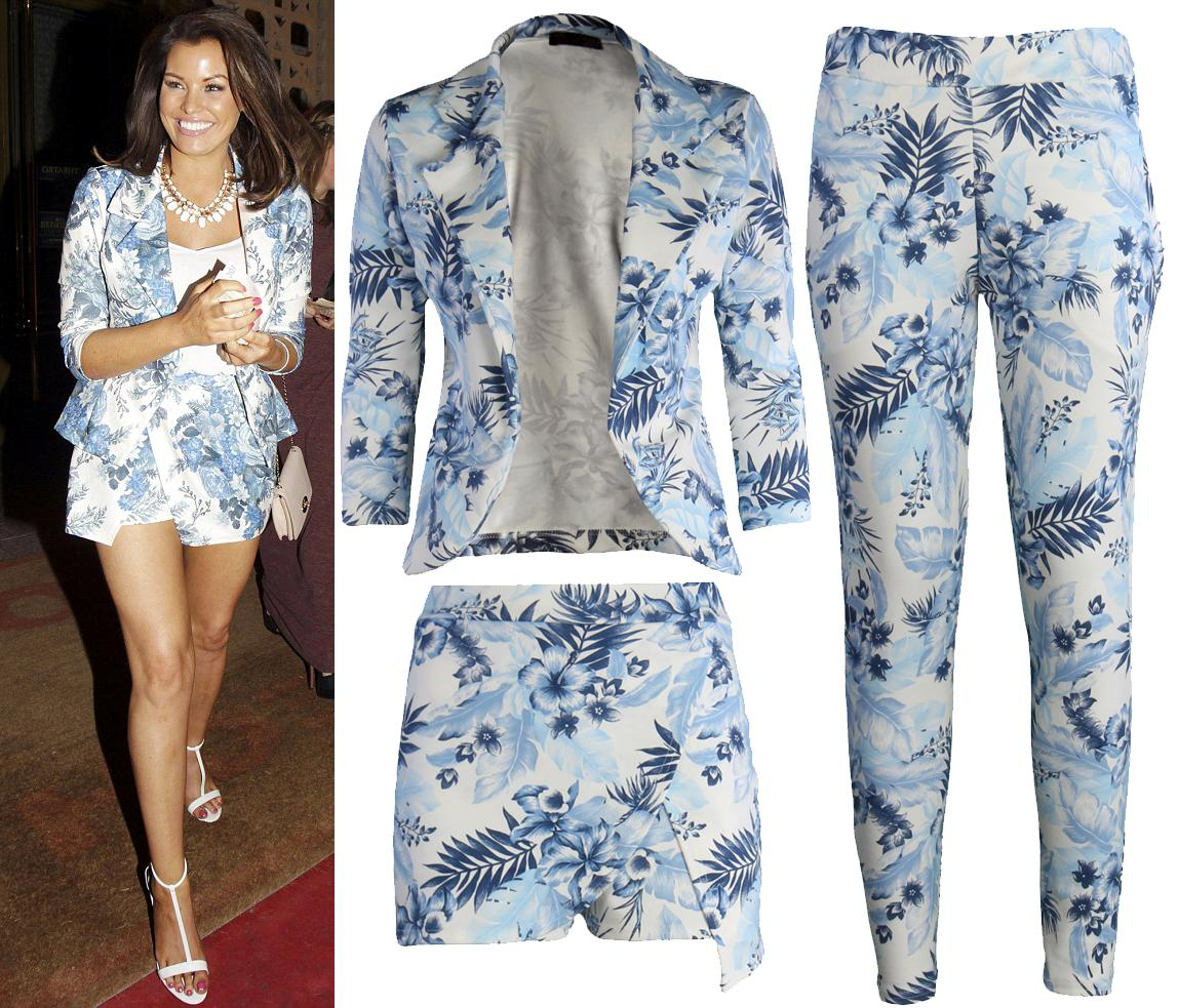 Ladies-Woman-Floral-TOWIE-Celeb-Jessica-Wright-Blazer-Skort-Short-Hot-Pants-Suit