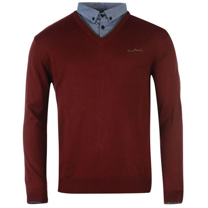 Pierre Cardin Mock Shirt V Neck Jumper Mens Sweatshirt ...
