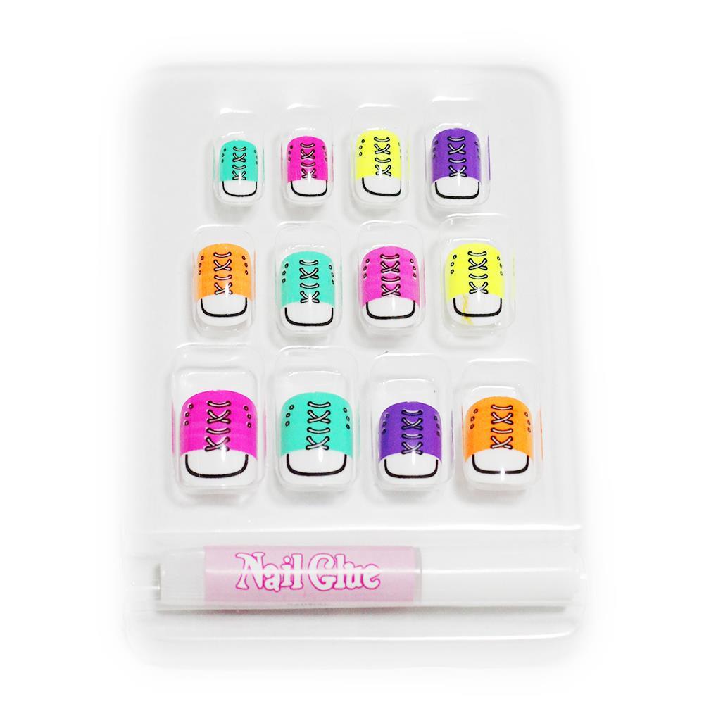 hot for kids girls cute french false fake nails art full