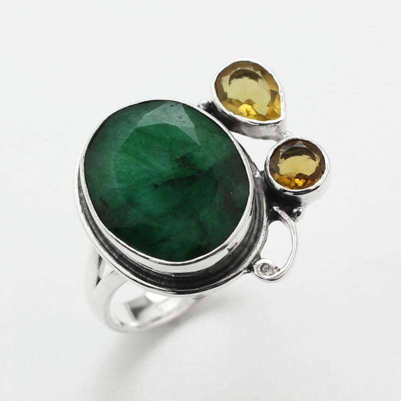 emerald citrine 925 silver ring size 7 p745 ebay