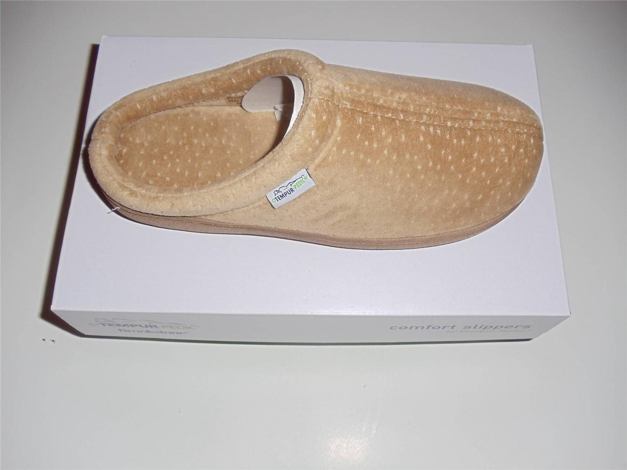 New-Tempur-Pedic-Brookstone-Womens-Comfort-Slippers-Classic-Velour-Tan