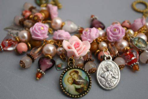 St. Anthony Cabochon Christian Catholic Charm Bracelet