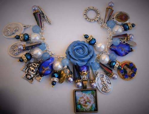 Sweet Holy Mother Mary and Baby Jesus Catholic Charm Bracelet Patron Saint Medal