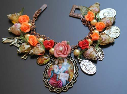 Jesus Our Lord Catholic Bracelet with Roses and Saint Medals