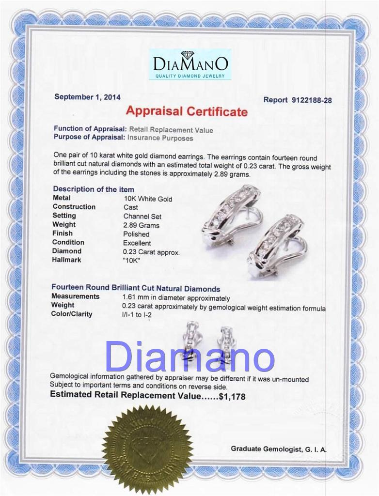 Product Description: This Listing Is For A Preowned Estate 023 Carat  Round Diamond French Clip Earrings Channel Set 10 Karat White Gold