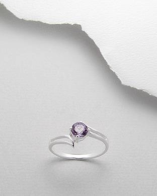 SILVER RING AMETHYST RHODIUM OVER 925 STERLING SILVER RING SIZE 8