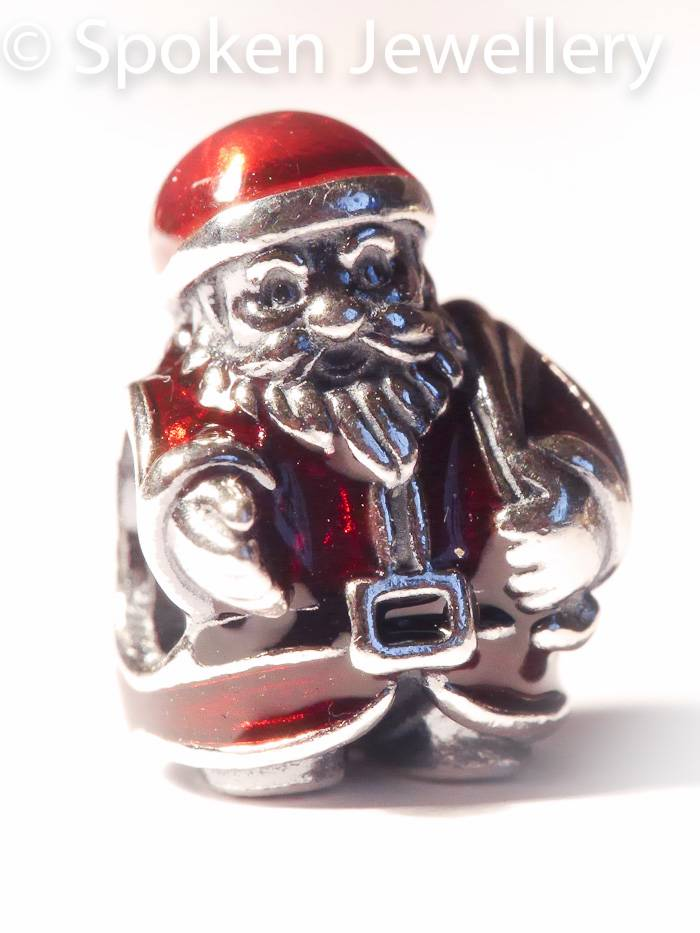 authentic genuine pandora silver santa charm with