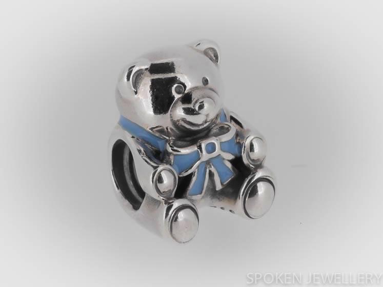 authentic genuine pandora baby boy teddy with blue