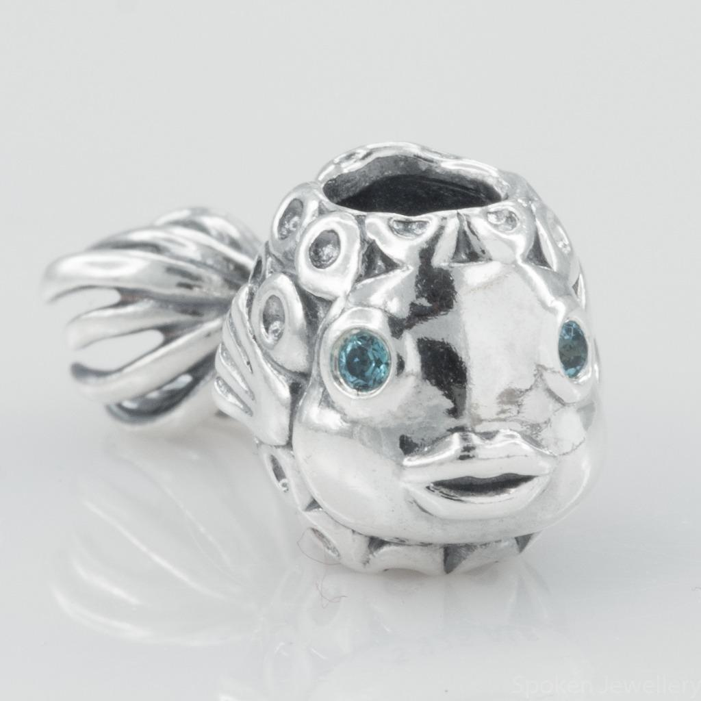 authentic genuine pandora silver fish with blue topaz