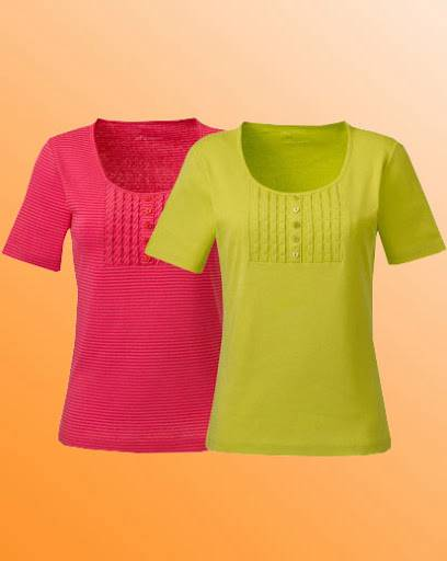 New-Simply-Be-Pack-2-Ladies-Jersey-Tops-Top-Stripe-Plain-Size-12-14-Coral-Lime