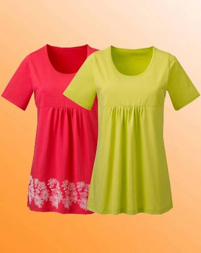 Simply-Be-Pack-of-2-Cotton-Jersey-Tunics-Size-12-14-16-18-20-22-24-26-Coral-Lime