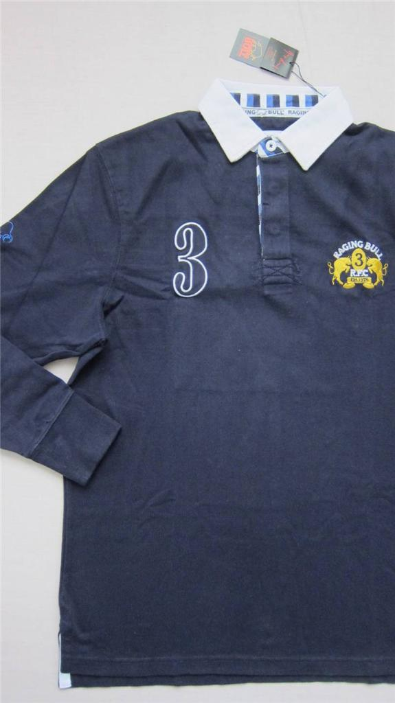 New-Raging-Bull-Rugby-Man-Top-Size-M-XL-UK-Navy-Long-Sleeve-Mens-Shirt