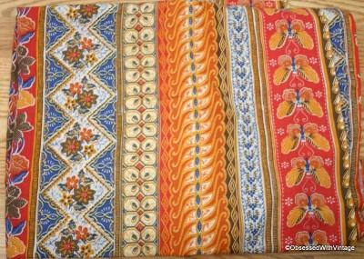 VTG Blue Orange Red Gold Butterfly Batik Shower Curtain EBay