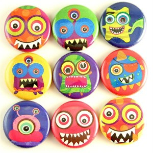 Monster Rainbow Magnet Pin Badge Button Cab Charm Boy Gift