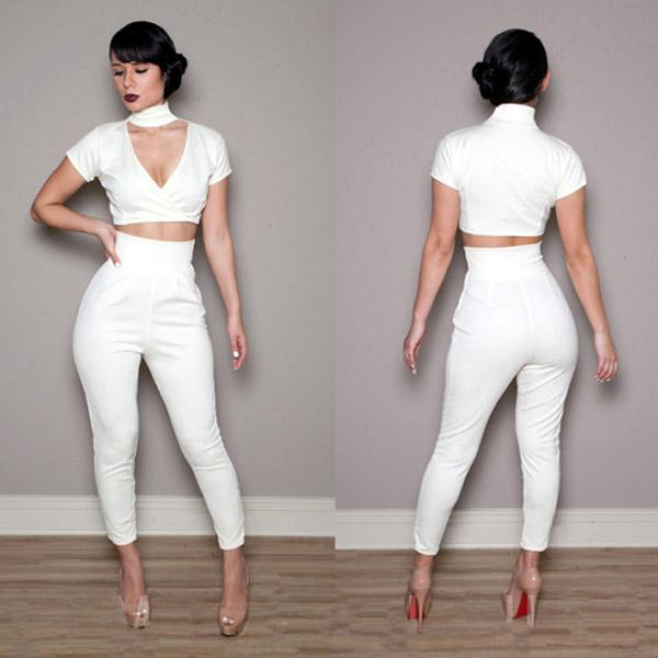Sexy-2-Pcs-V-Neck-Shirts-Trousers-Womens-Jumpsuit-Rompers-Clubwear ...