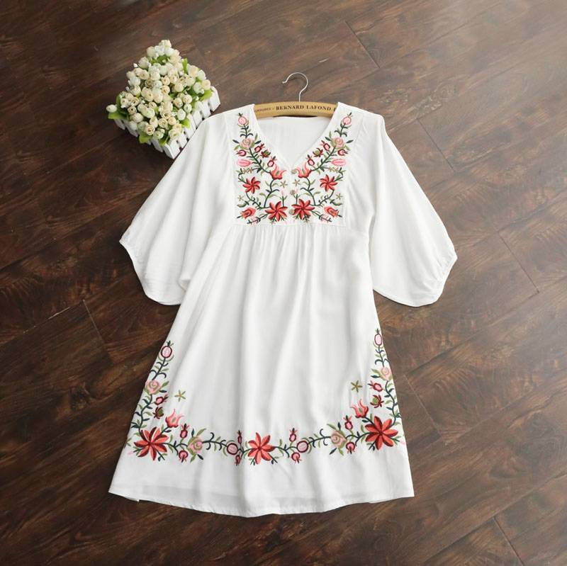 White women embroidered floral peasant blouse boho mexican