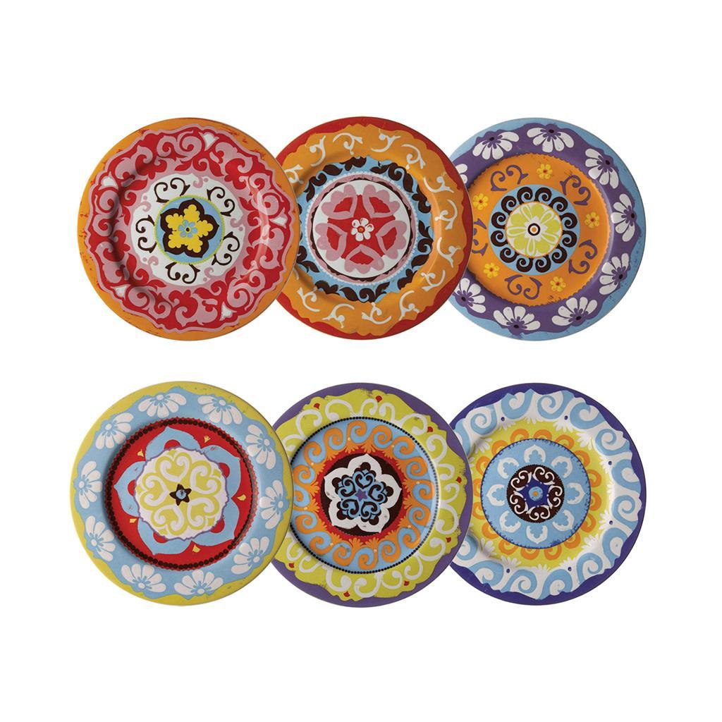 Nador Set of 6 Rim Plates 13cm Mediterranean Style !