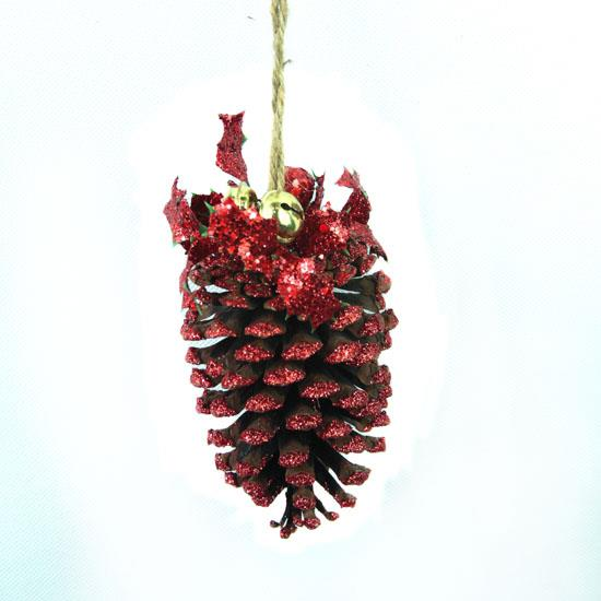 Pack of 6 large holly pine cone christmas ornament glitter for Pine cone christmas tree ornaments