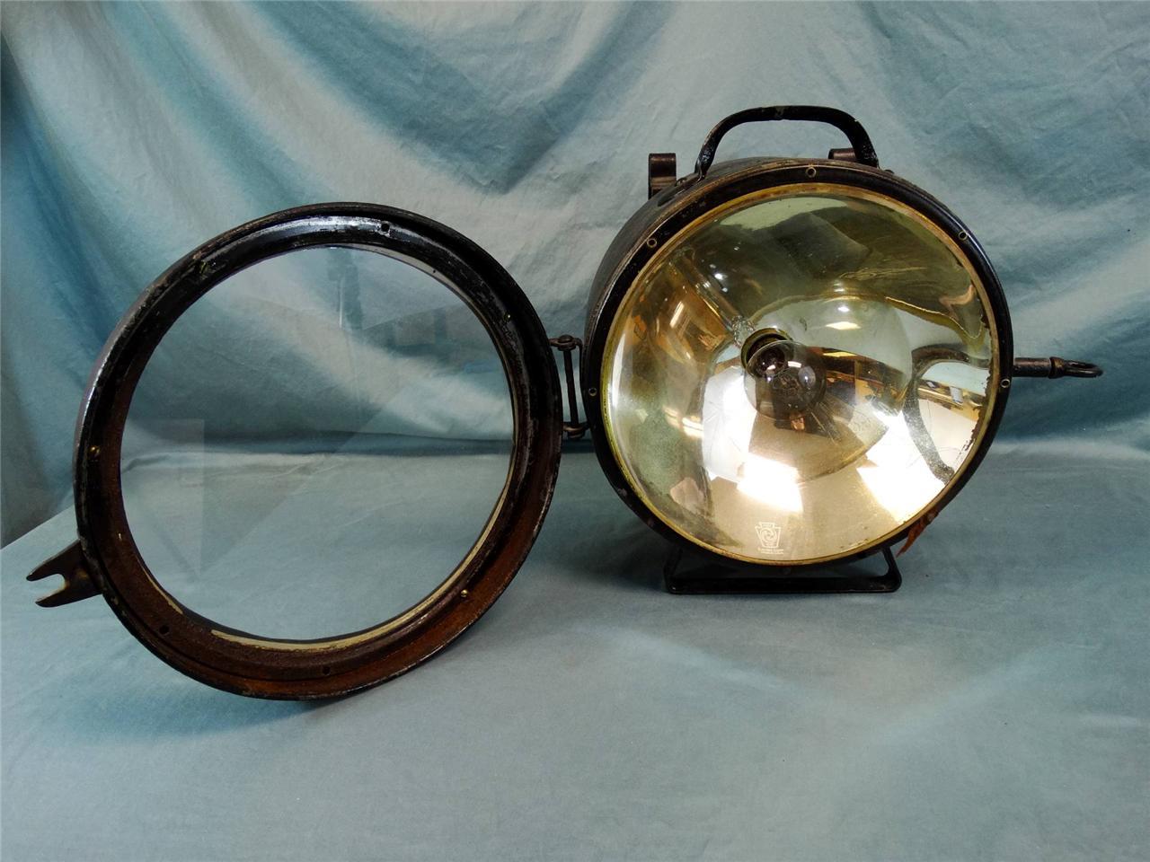 Antique Train Headlight : Antique rare golden glow t railroad locomotive