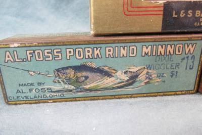 Rare group of 5 bait lure boxes four are al foss pork for Pork rind fishing