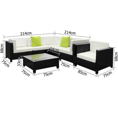 7-Piece-Outdoor-PE-Wicker-Sofa-Lounge-Black-Beige-FF-LUX-BKBE-LI-T-ARM-NEW