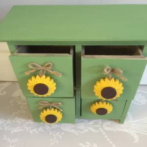 Cute set of mini green drawers with sunflower detail for Sunflower bedroom decor