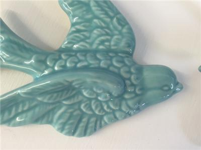 retro vintage set of 3 flying swallows in duck egg blue