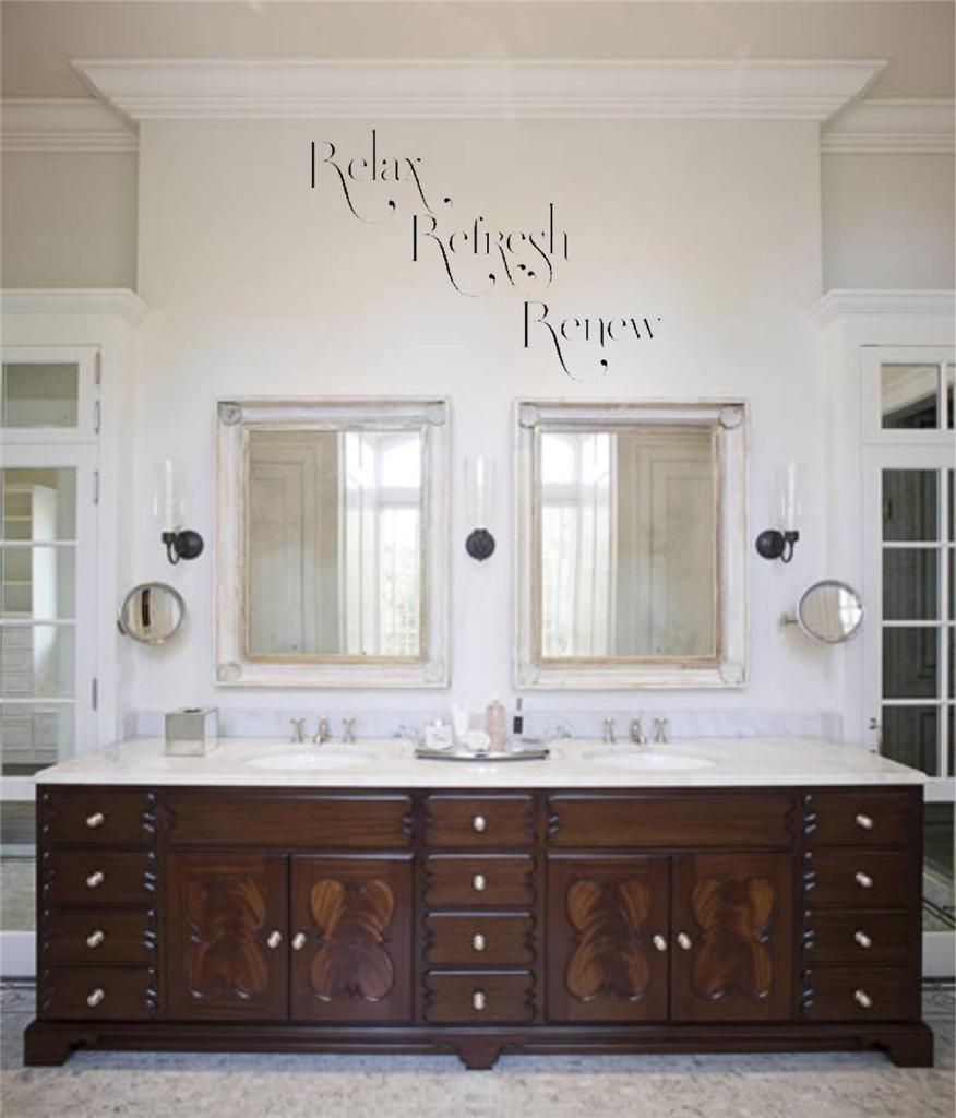 Huge relax refresh renew bath room rules wall decal for Renew bathroom