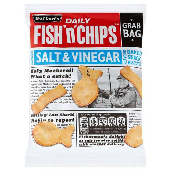 Burton 39 s daily fish 39 n 39 chips salt vinegar flavour baked for Fish and chips vinegar