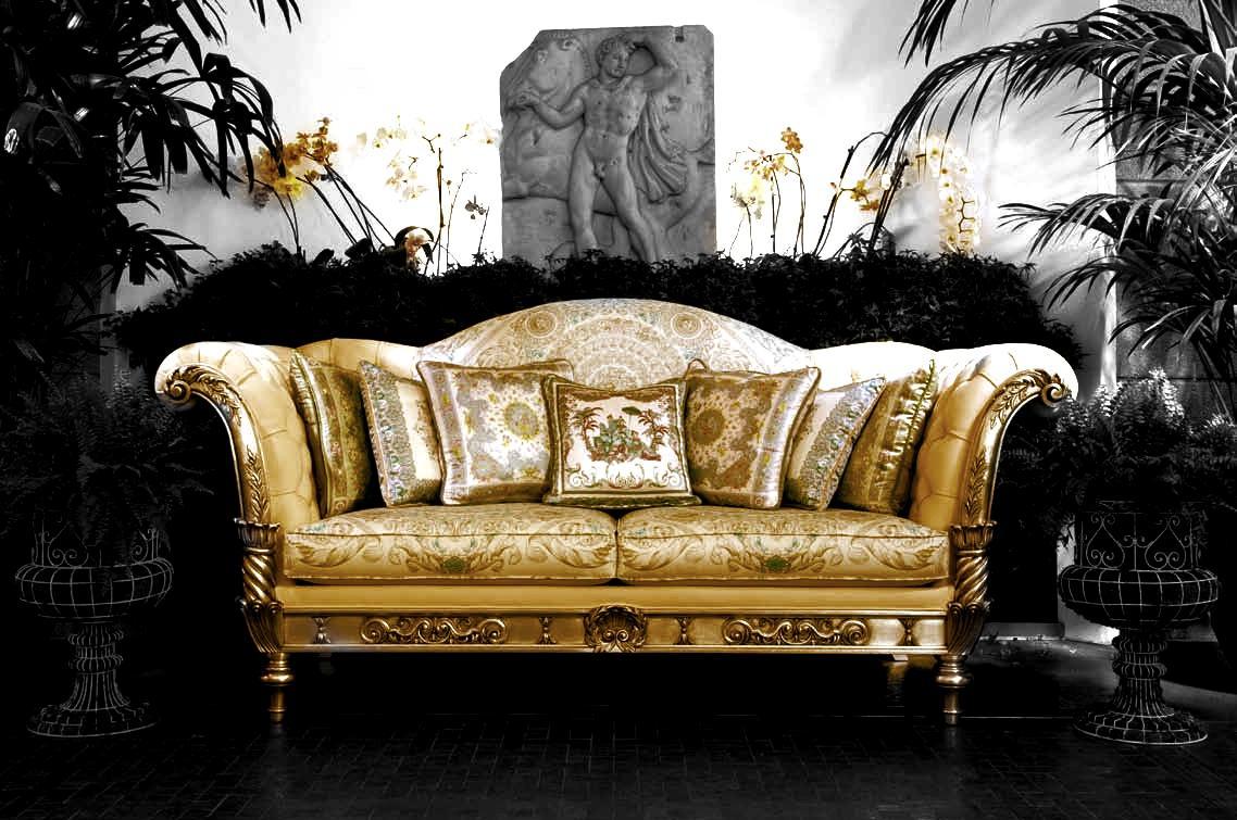 725 new gianni versace home signature black gold baroque cushion pillow ebay. Black Bedroom Furniture Sets. Home Design Ideas