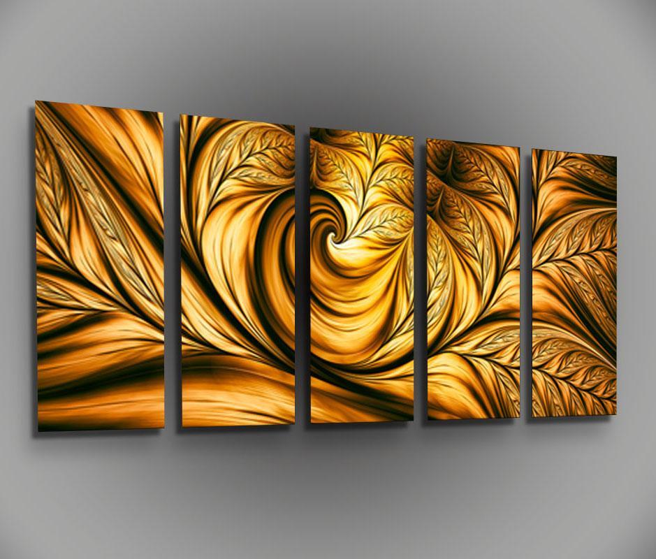 Metal canvas wall art golden beauty framed modern for Modern art canvas painting