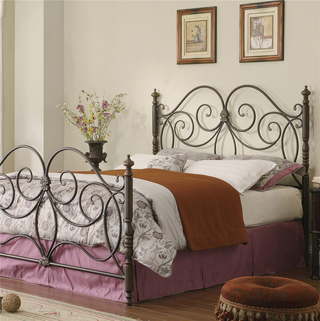 Metal full king size bed headboard footboard bedroom for King size footboard