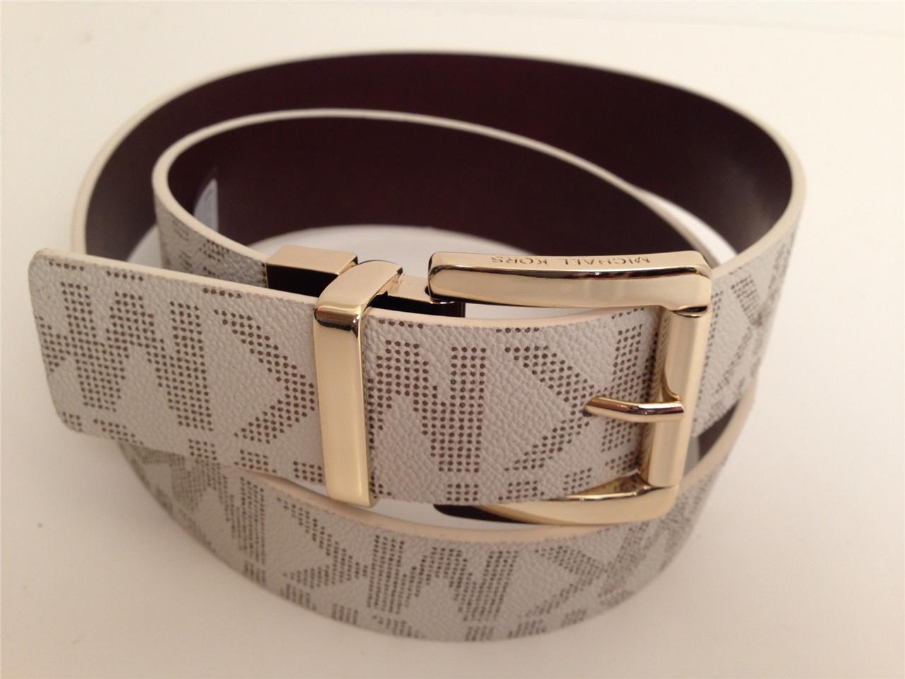 MICHAEL-KORS-Womens-Belts-Reversible-Gold-Buckle-Vanilla-Cho-MK-Signature-New