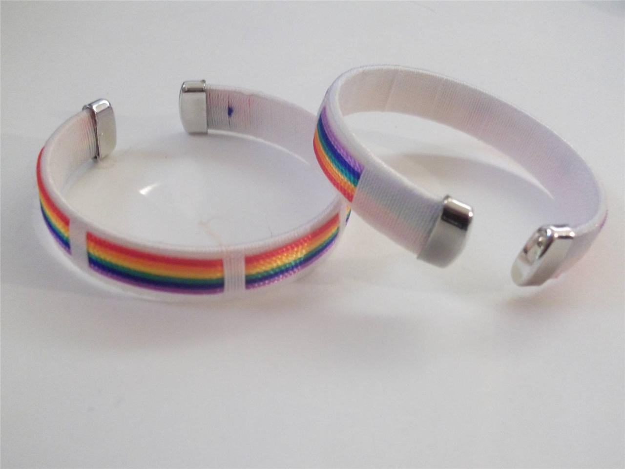 2pc Rainbow Bracelet Flexible Band Bangles Bangle Wristband Pride Flag LGBT Lot