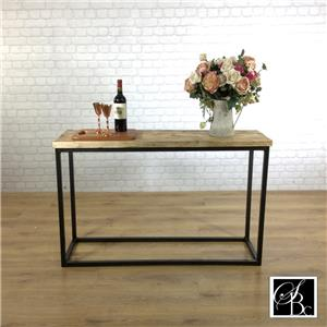 Industrial console hall table wood vintage metal pine sideboard rustic - Industrial Console Hall Table Wood Vintage Metal Pine