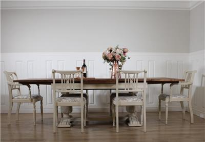 Shabby Chic Dining Table 6 Chairs Solid Antique Kitchen Rustic Farmhouse EBay