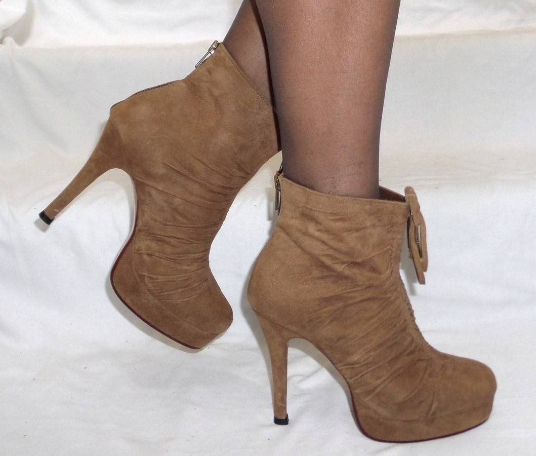 HANDMADE-ITALIAN-platform-ZIP-BACK-ankle-BOOTS-CAMEL-SUEDE-LEATHER-8-8-5-GLAM