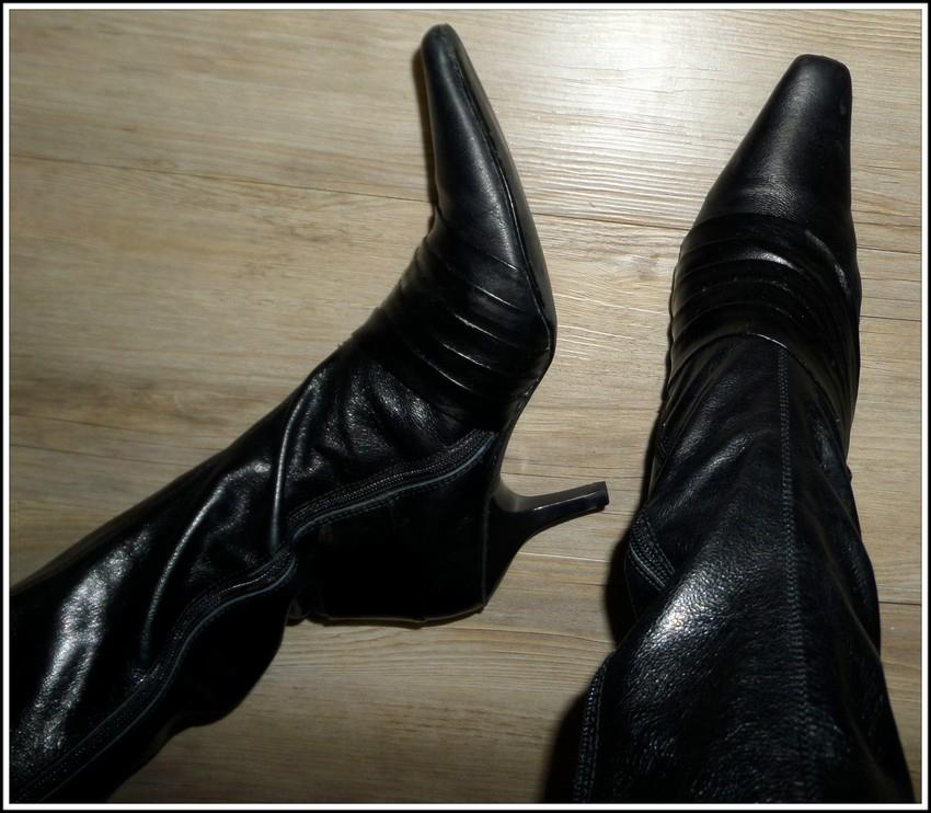 betts black leather knee high boots 8 5 wide leg calf