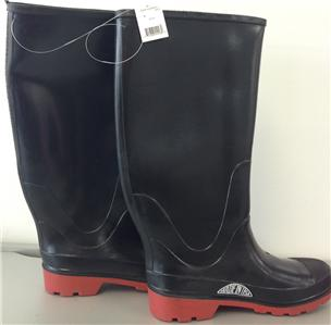 Black rubber rain fishing work boots made in usa 100 for Rubber fishing boots
