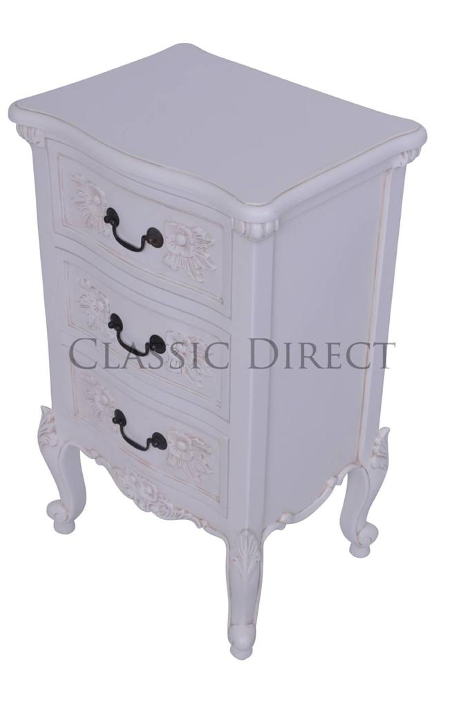 French provincial bedside table 3 drawer antique white for French nightstand bedside table