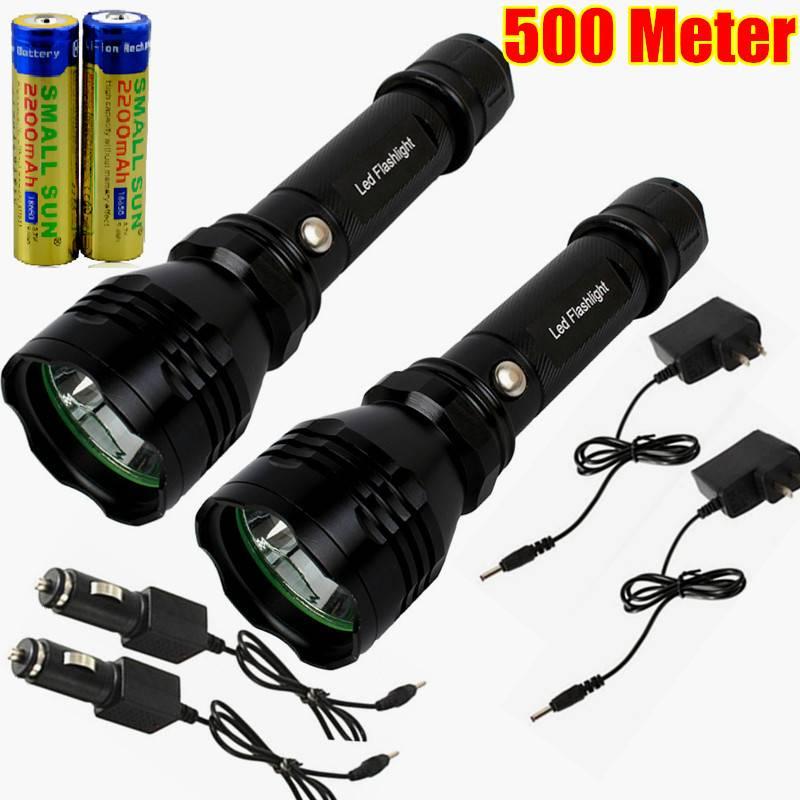 2PCS 500 METER 1000 LUMEN TACTICAL CREE LED RECHARGABLE ...