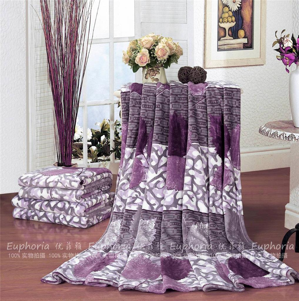 euphoria soft plush throw blanket couch bed purple leafs single  - euphoria soft plush throw blanket couch bed purple leafs single queen king