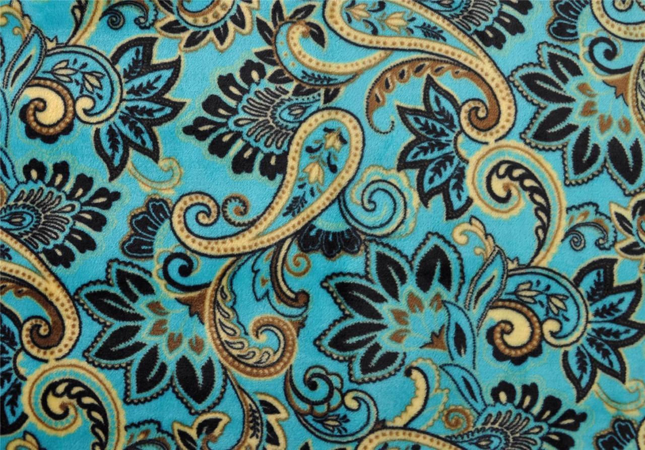 Euphoria Soft Plush Throw Blanket Teal Paisley Design Baroque Style