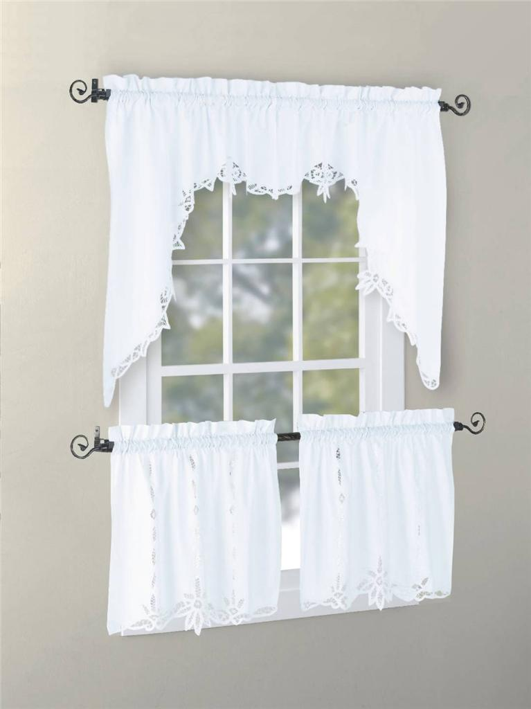 vintage battenburg kitchen curtain valance swag tier white ecru color