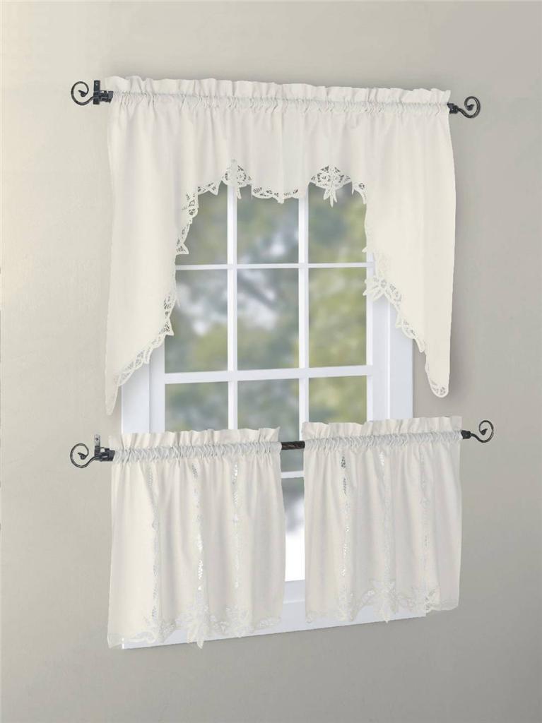 White Cotton Tiered Curtains Battenburg Lace Cotton Kitchen Curtain White Caf 233 Kitchen