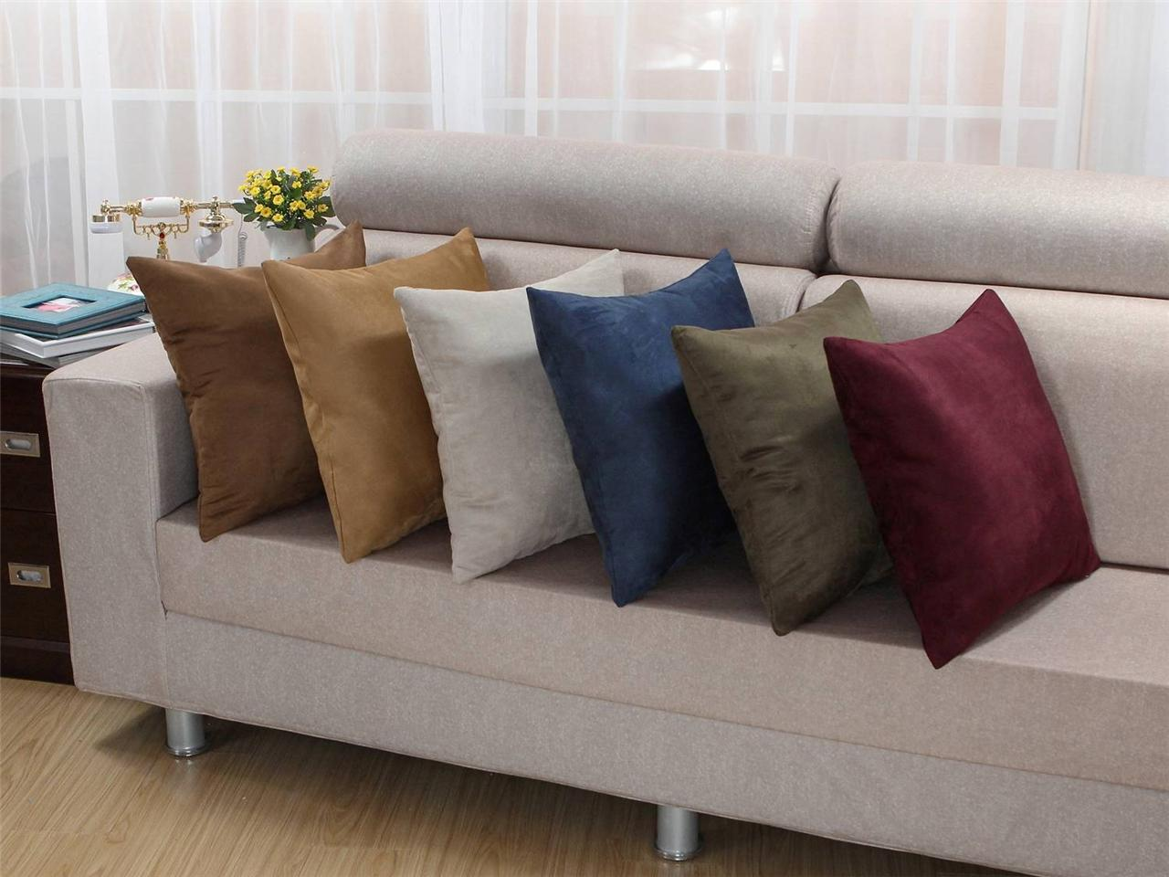 18 x18 high class ultra solid thick suede cushion cover