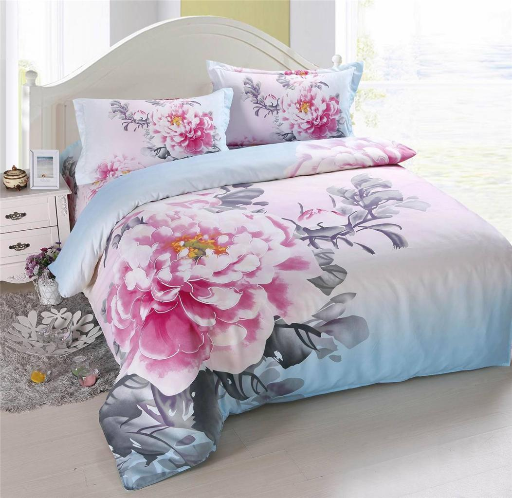 3d print blooming floral duvet cover pillow shams bed sheet bedding queen sets ebay. Black Bedroom Furniture Sets. Home Design Ideas